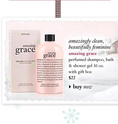 amazingly clean, beautifully feminine - amazing grace perfumed shampoo, bath & shower gel 16 oz. with gift box $22