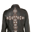 Cross Embroidered Biker Jacket