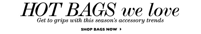 HOT BAGS WE LOVE...Get to grips with this seasons accessory trends SHOP BAGS NOW
