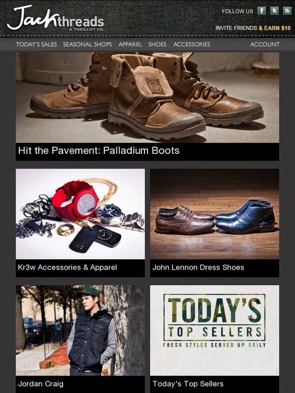 72a281dfff Jack Threads: BRAND NEW: Palladium Boots, Patterned Snapbacks, & KR3W  Accessories | John Lennon Footwear | Rock and Roll: Band Gear | New Wrist  Swag | Going ...
