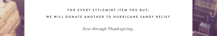 For every StyleMint item you buy, we will donate another to Hurricane Sandy relief