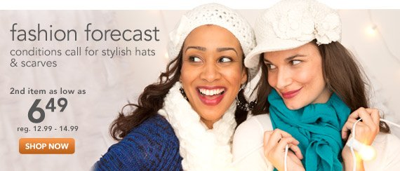 Conditions call for stylish cold weather hats and scarves.