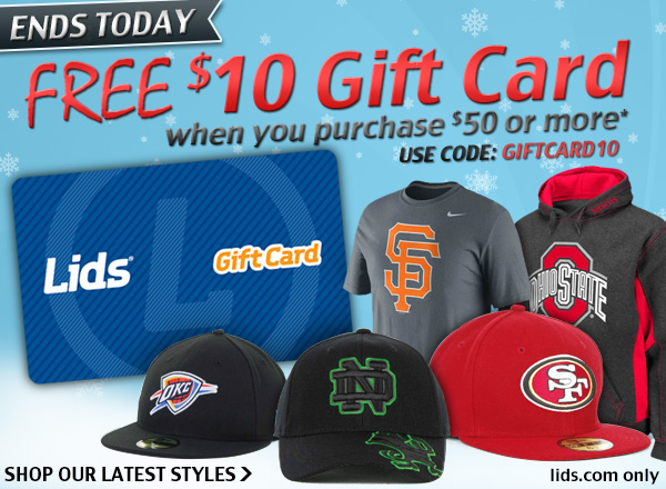 Ends today! Free $10 gift card when you purchase $50 or more.
