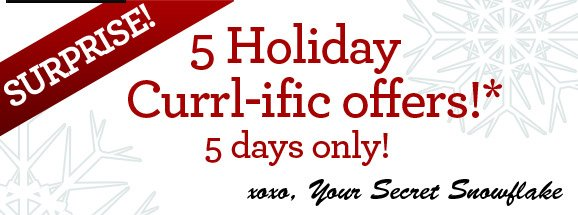 SURPRISE! 5 Holiday Currl-ific offers!* 5 days only! xoxo, Your Secret Snowflake