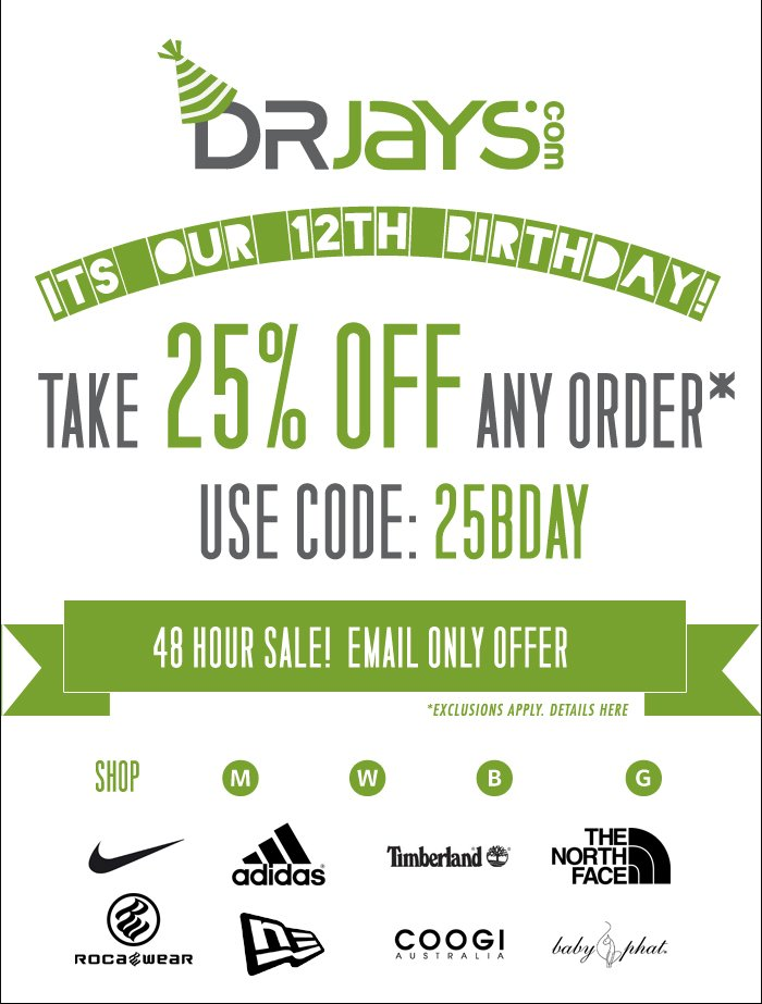Take 25% off any order. Use code: 25BDAY
