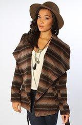 The Aslyn Ombre Stripe Wool Coat in Concrete