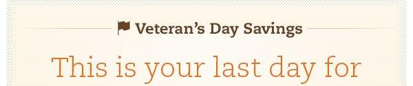 Veteran's Day Savings!