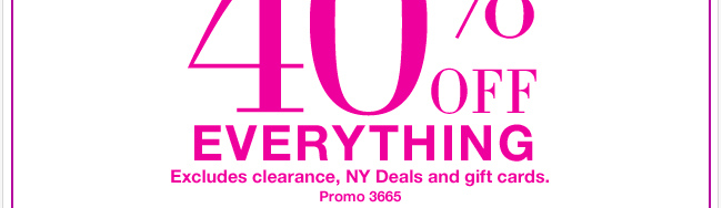Enjoy 40% Off EVERYTHING tomorrow and Wednesday ONLY + FREE SHIPPING. Shop NOW!