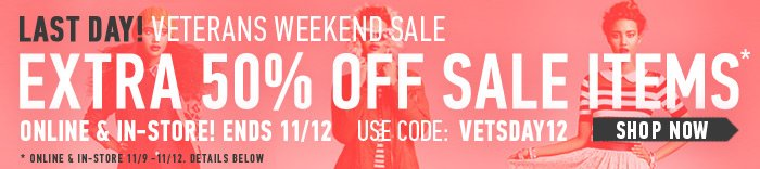 Last Day - Extra 50% Off Sale - Shop Now