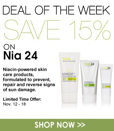 Save 15% on Nia 24 Niacin-powered skin care products, formulated to prevent, repair and reverse signs of sun damage. Shop Now>>