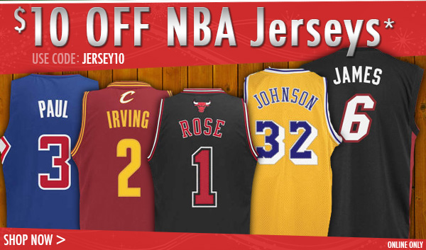$10 off NBA Jerseys