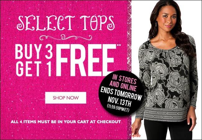 Select Tops: Buy 3, Get 1 Free - Ends Tomorrow, November 13