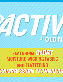 ACTIVE BY OLD NAVY | FEATURING GoDRY MOISTURE-WICKING FABRIC AND FLATTERING COMPRESSION TECHNOLOGY