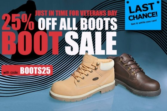 This Veterans Day Get 25% Off All Boots