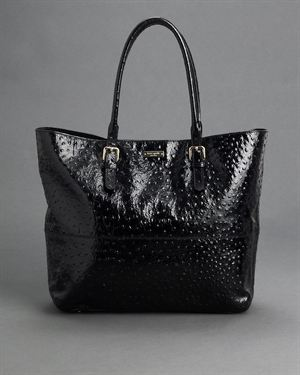 Kate Spade Shanna Portola Valley Patent Leather Ostrich Tote $299