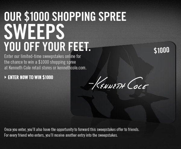 OUR $1000 SHOPPING SPREE SWEEPS YOU OFF YOUR FEET