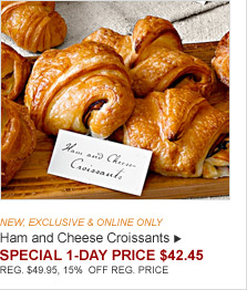 NEW, EXCLUSIVE & ONLINE ONLY - Ham and Cheese Croissants - SPECIAL 1-DAY PRICE $42.45 - REG. $49.95, 15% OFF REG. PRICE