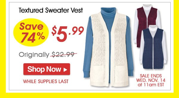 Textured Sweater Vest - Save 74% - Now Only $5.99 Limited Time Offer