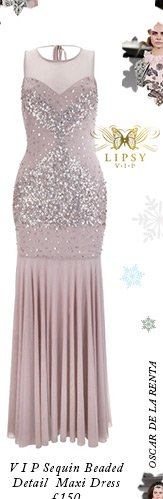 V I P Sequin Beaded Detail Maxi Dress