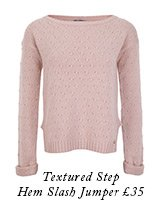 Textured Step Hem Slash Jumper