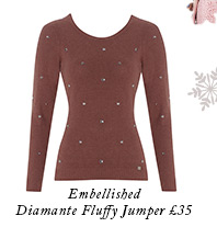 Embellished Diamante Fluffy Jumper