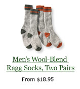 Men's Wool-Blend Ragg Socks, Two Pairs, from $18.95