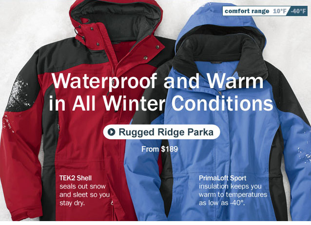 Waterproof and Warm in All Winter Conditions. TEK2 shell seals out snow and sleet so you stay dry. PrimaLoft Sport insulation keeps you warm to temperatures as low as -40°.Comfort Range, 10°F to -40°F