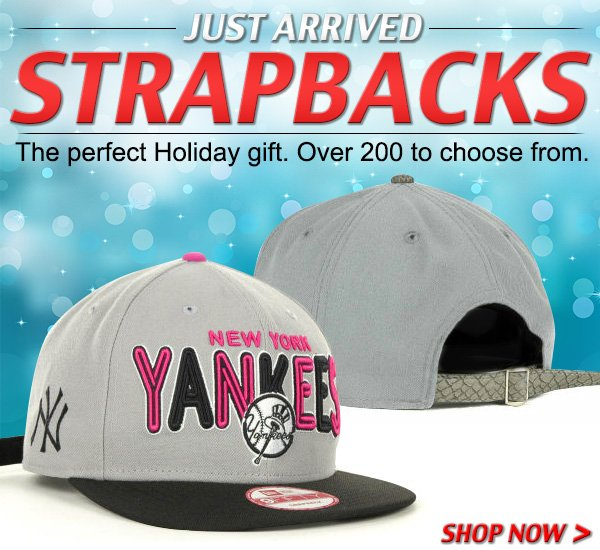 Just Arrived! Strapbacks - The perfect Holiday gift.