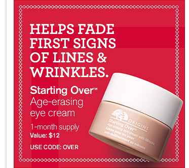 HELPS FADE FIRST SIGNS OF LINES AND WRINKLES Strating Over Age erasing eye cream 1 month supply Value 12 dollars USE CODE OVER