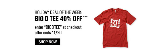 Holiday Deal of the Week: Big D Tee 40% Off*** Enter BIGDTEE at checkout. Offer ends Nov. 20. Shop Now