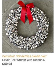 EXCLUSIVE, TOP-RATED & ONLINE ONLY - Silver Bell Wreath with Ribbon - $49.95