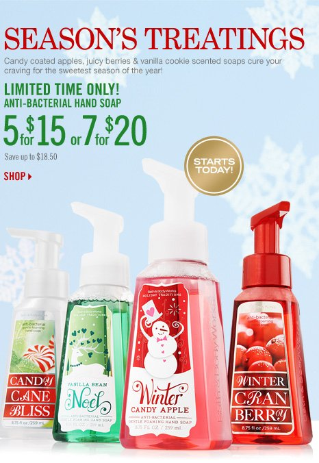 5 for $15 or 7 for $20 Anti-Bac Hand Soap