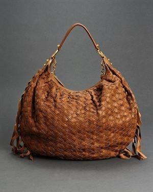 Miu Miu LU Woven Leather Fringe Convertible Shoulder Bag $785
