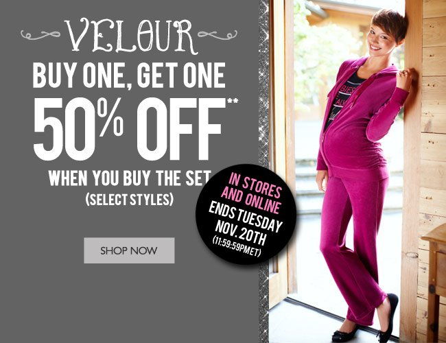 Velour: Buy One, Get One 50% Off - Select Styles
