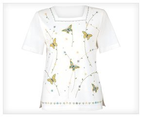 Alfred Dunner Floral Butterfly Shirt