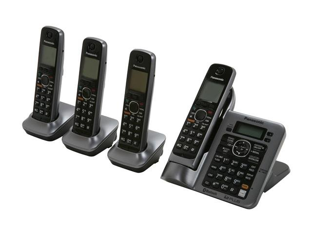 Panasonic KX-TG7644M Link-To-Cell 1.9 GHz Digital DECT 6.0 4X Handsets Cordless Phones Integrated Answering Machine