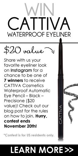 Win CATTIVA Waterproof Eyeliner ($20 value)! Share with us your favorite eyeliner look on Instagram for a chance to be one of 7 winners to receive CATTIVA Cosmetics Waterproof Automatic Eye Pencil – Black – Precisione ($20 value)! Check out our blog post for the rules on how to join. Hurry, contest ends November 20th!  *Contest is for US residents only. LEARN MORE>>