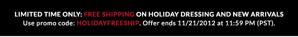 Free Shipping with promo code HOLIDAYFREESHIP