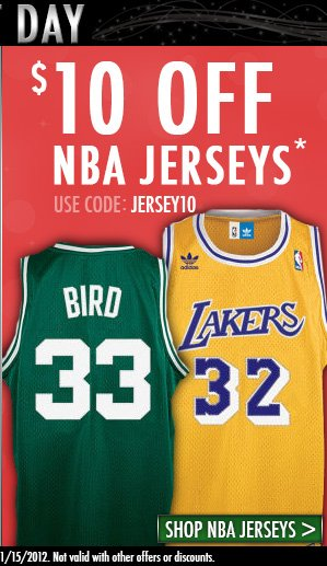 Last Day! $10 off NBA Jerseys