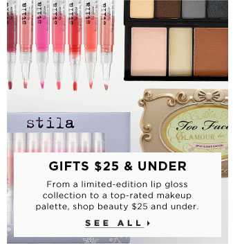 Gifts $25 & Under. From a limited-edition lip gloss collection to a fashion-forward 3D nail set, shop beauty $25 and under. See all