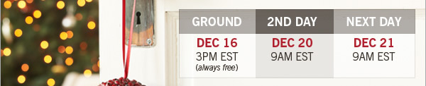 Ground, December 16 at 3PM EST (always free); 2nd Day, December 20 9AM EST; Next Day, December 21 9AM EST