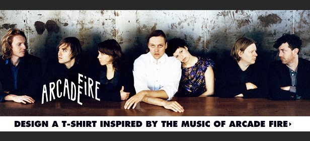 Design a t-shirt inspired by the music of Arcade Fire