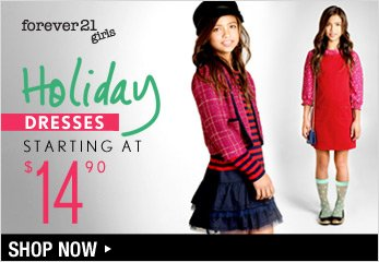 F21 GIRLS: Holiday Dresses Starting at $14.90 - Shop Now