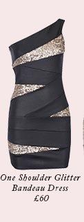 One Shoulder Glitter Bandeau Dress