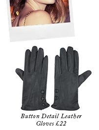 Button Detail Leather Gloves
