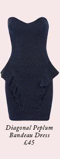 Diagonal Peplum Bandeau Dress