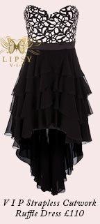 V I P Strapless Cutwork Detail Ruffle Dress