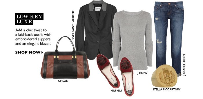 LOW-KEY LUXE Add a chic twist to a laid-back outfit with embroidered slippers and an elegant blazer. SHOP NOW
