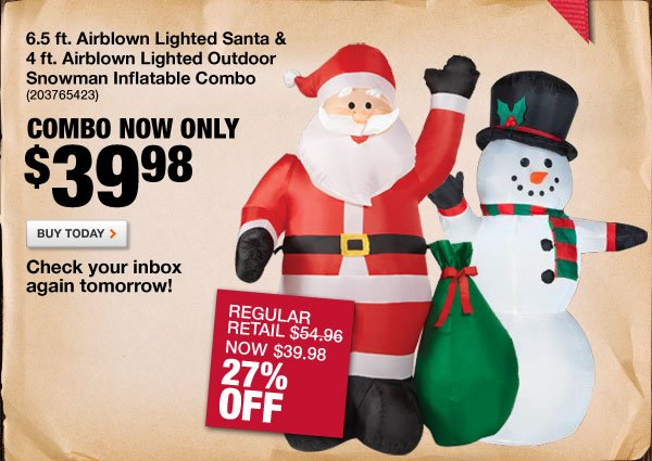 Airblown Lighted Santa and Snowman Inflatable Combo