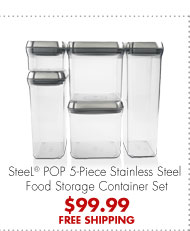 SteeL® Pop 5-Piece Stainless Steel Food Storage Container Set $99.99 FREE SHIPPING